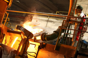 Casting of cast-iron for rodding of anodes.